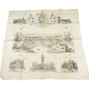 Vintage Handkerchief of Queen Victoria and Victorian Landmarks