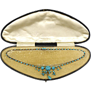 Antique Rare Gold and Turquoise Lavaliere Necklace