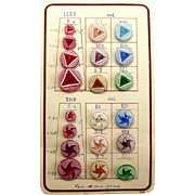 Vintage Sample Card of Glass Buttons