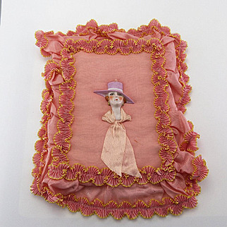 Vintage Deco Bas Relief Pincushion Doll Head as Hankie Container