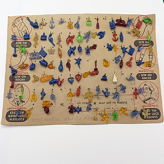 Vintage Sample Card of Good Luck Military Charms