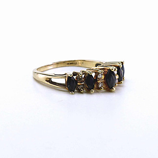 Vintage 10k Gold, Diamond and Sapphire Ring