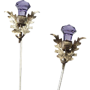 Lovely Pair of Sterling Silver and Amethyst Glass Hatpins