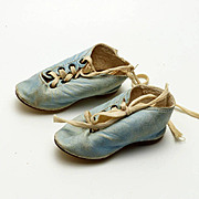 Pair of Blue Leather Antique Doll Shoes