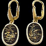 Antique 18K Gold and Shakudo Earrings