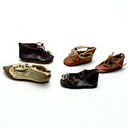 Five Individual Antique Doll Shoes