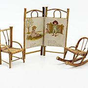 Three Pieces of Doll house Bamboo Furniture