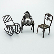Three Pieces of Metal Dollhouse Furniture