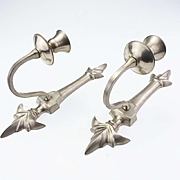 Interesting Pair of Deco Pewter Wall Candleholders