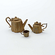 Metal Doll House Teapot, Coffee Pot and Cup