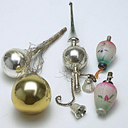 Five Vintage Christmas Tree Ornaments As Is