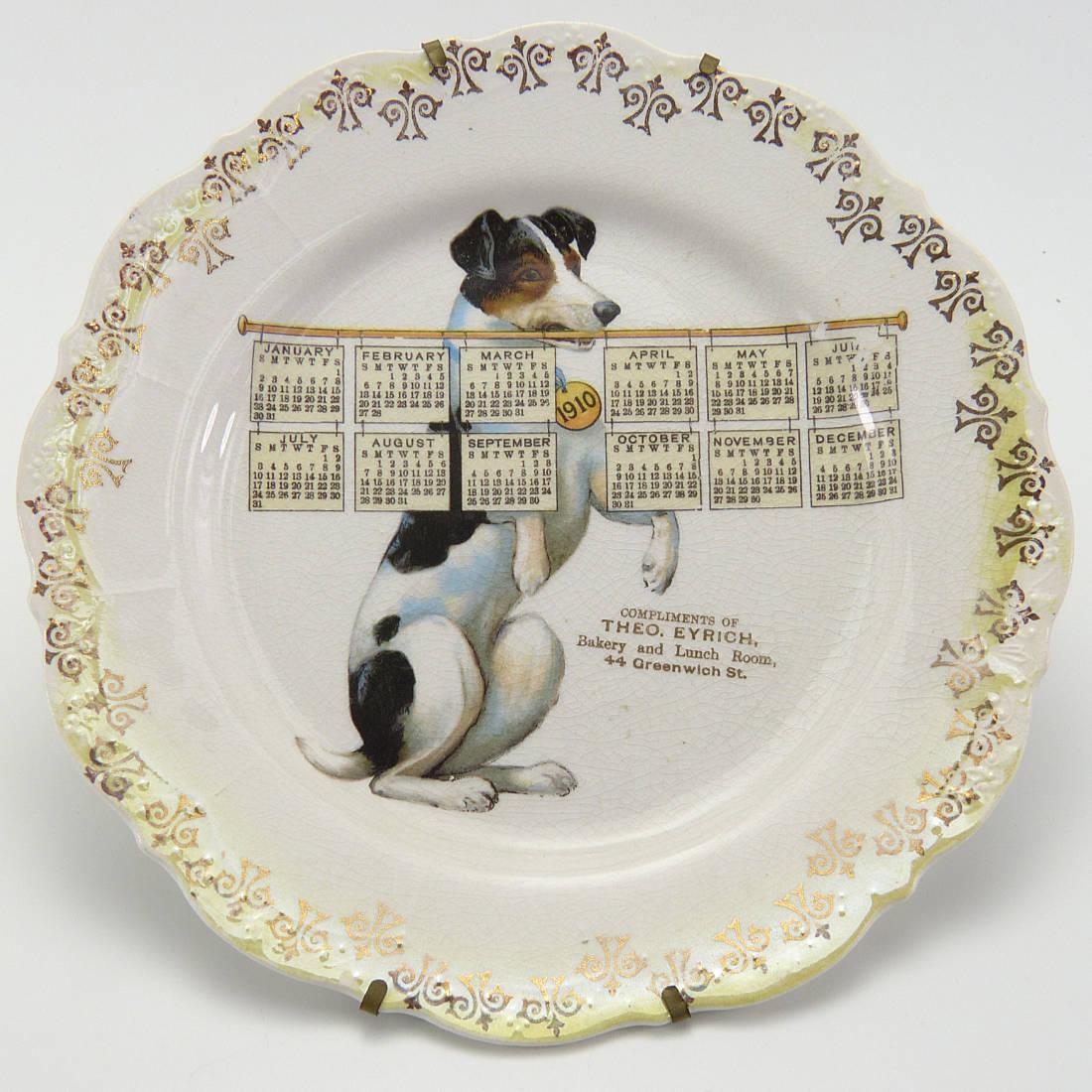 Antique Fox Terrier Advertising Calendar Plate 1910