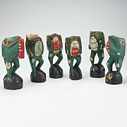 Vintage Carved and Painted Wooden Six Frog Band