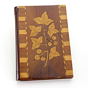 Vintage Inlaid Wooden Card Case Two Images