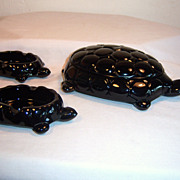 Westmoreland Black Milk Glass Turtles - 4 Pcs Set