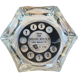 Telephone Dial Glass Ashtray Advertising Checker B-B-Q 1960's