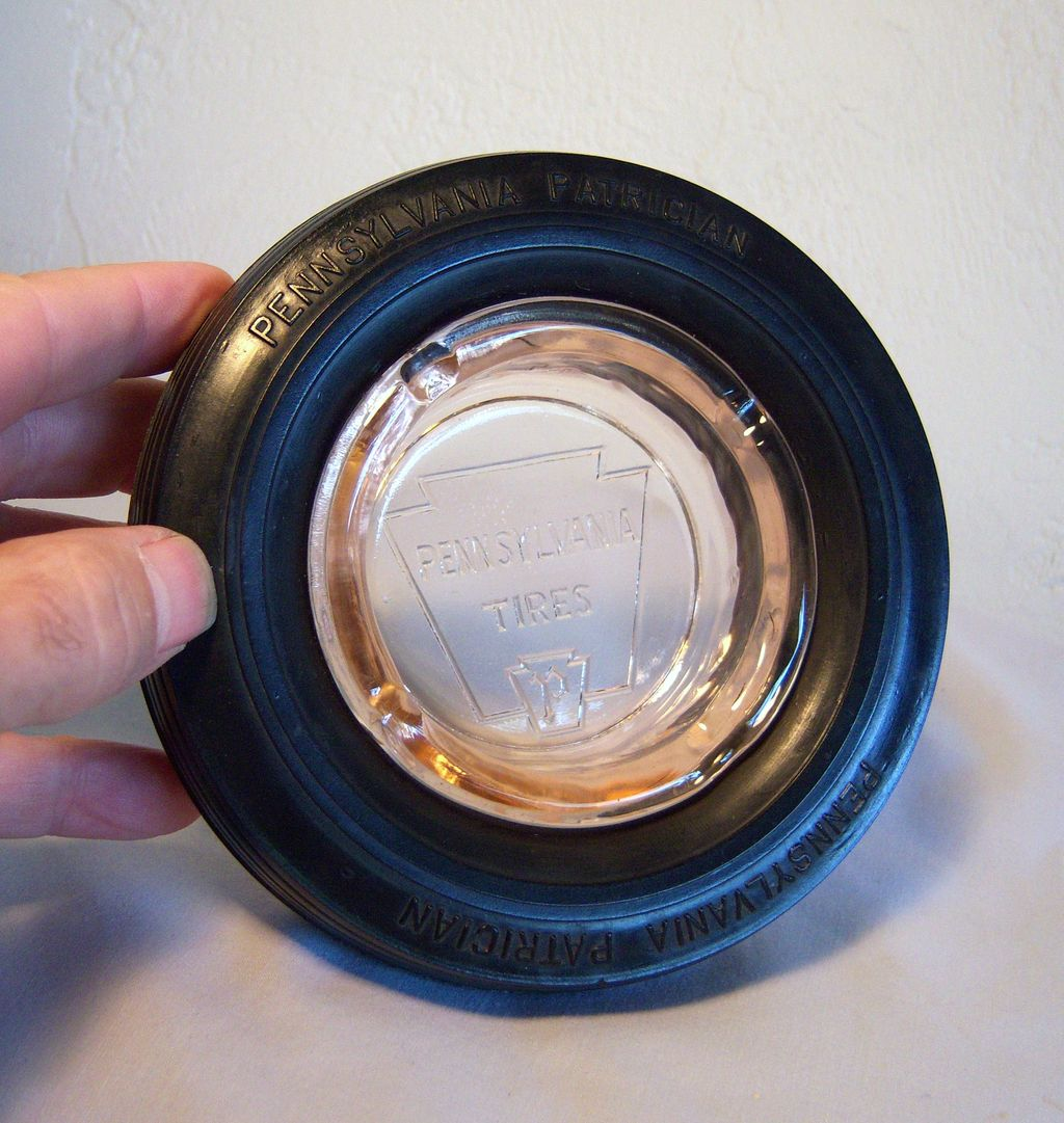 Pennsylvania Tires Tire Ashtray Crimson Logo Circa 1950's