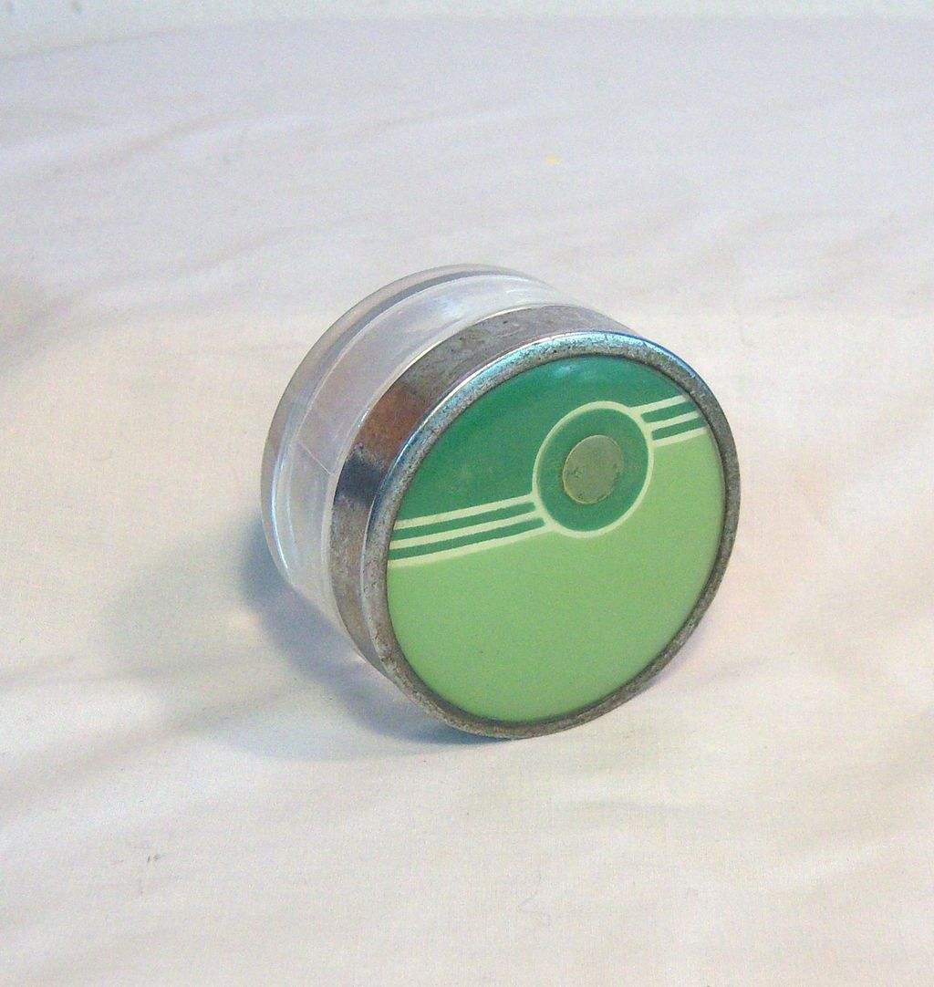 Vintage Cosmetic Jar in Green Deco Style Design