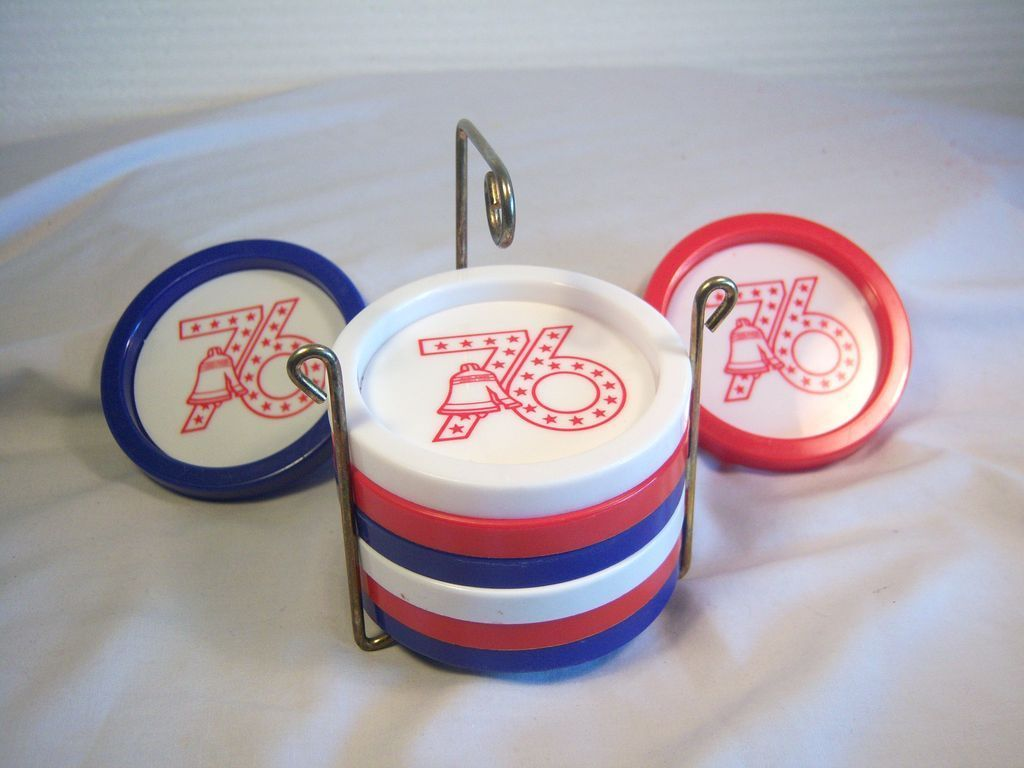 Red, White and Blue Bi-Centennial Coasters 9 pcs. Set  U.S.A 1976