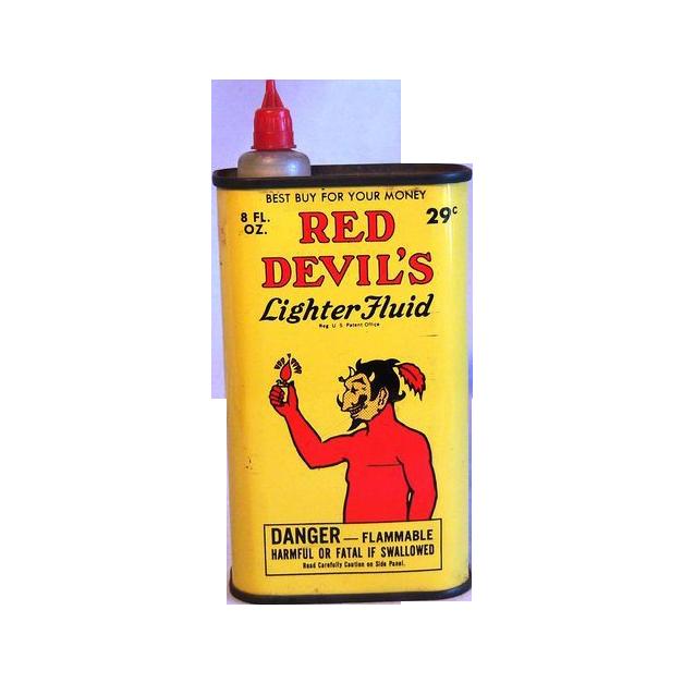 Old Red Devil Lighter Fluid Tin Circa 1950