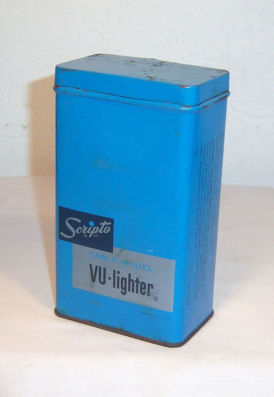 Scripto VU-Lighter Tin for Table Model Lighter in Bright Blue Circa 1950's