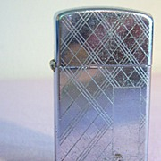 ZIPPO Slim-Plaid Pattern in Chrome-1964