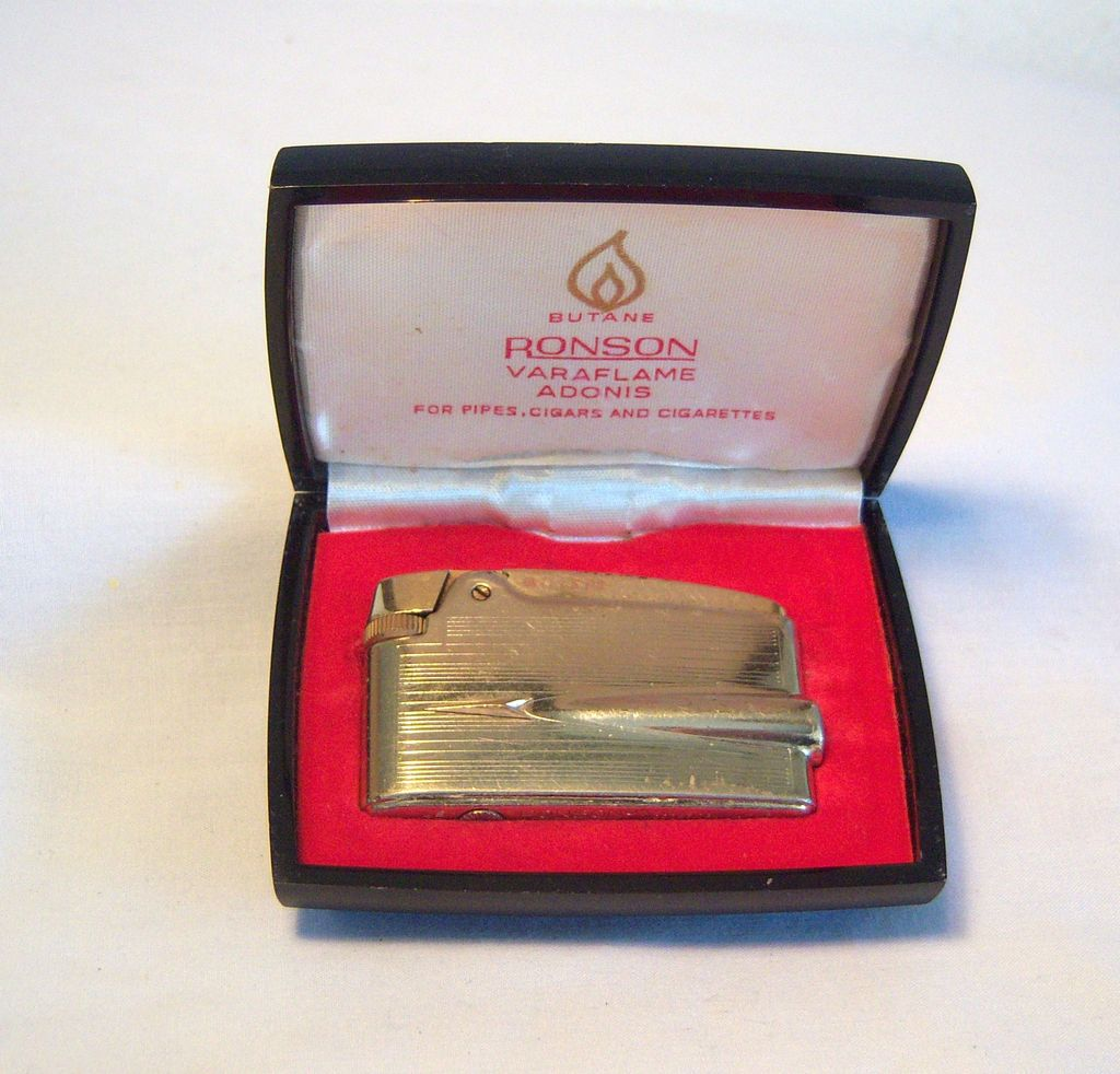 Ronson Varaflame Adonis Butane Pocket Lighter with Display Case Circa 1964