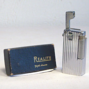 REALITE Fifth Avenue Chrome Lift Arm Pocket Lighter with Box 1950's