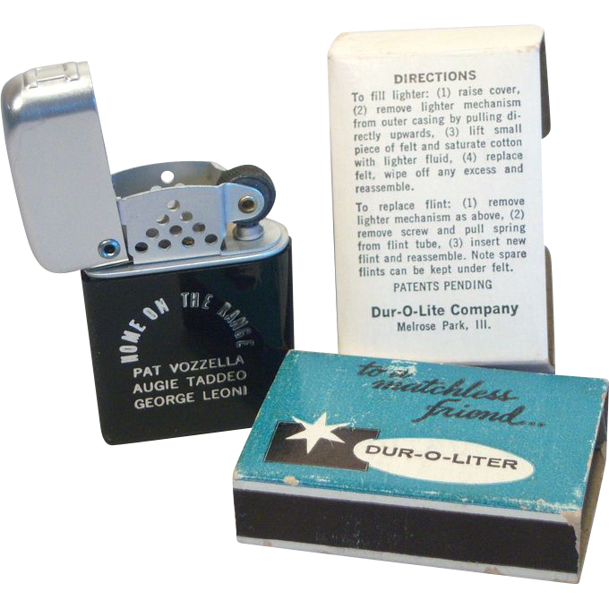 DUR-O-LITER Matchless Friend Advertising Pocket Lighter MIB 1950's