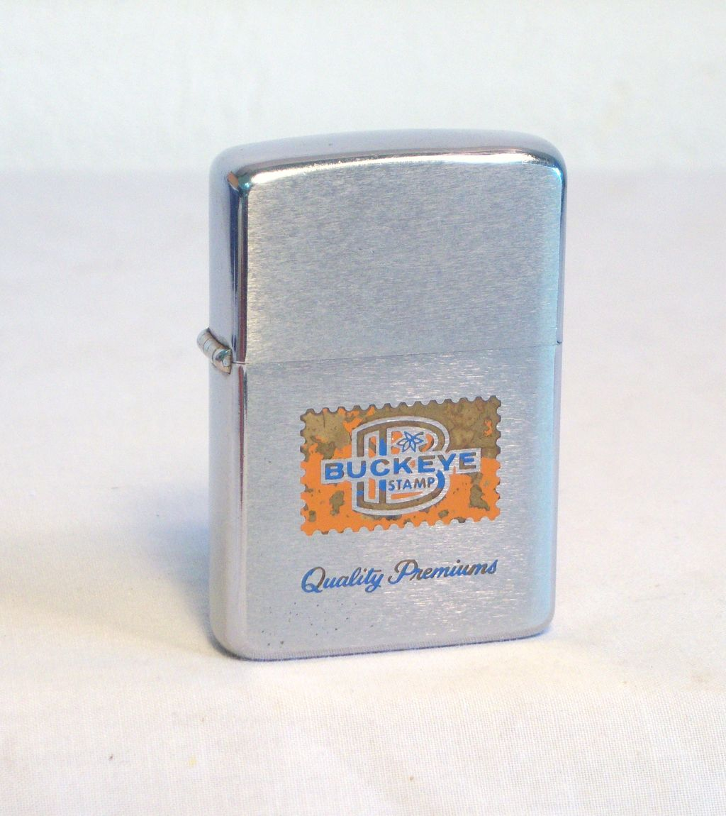 ZIPPO BUCKEYE Stamp Advertiser Brushed Chrome 1966