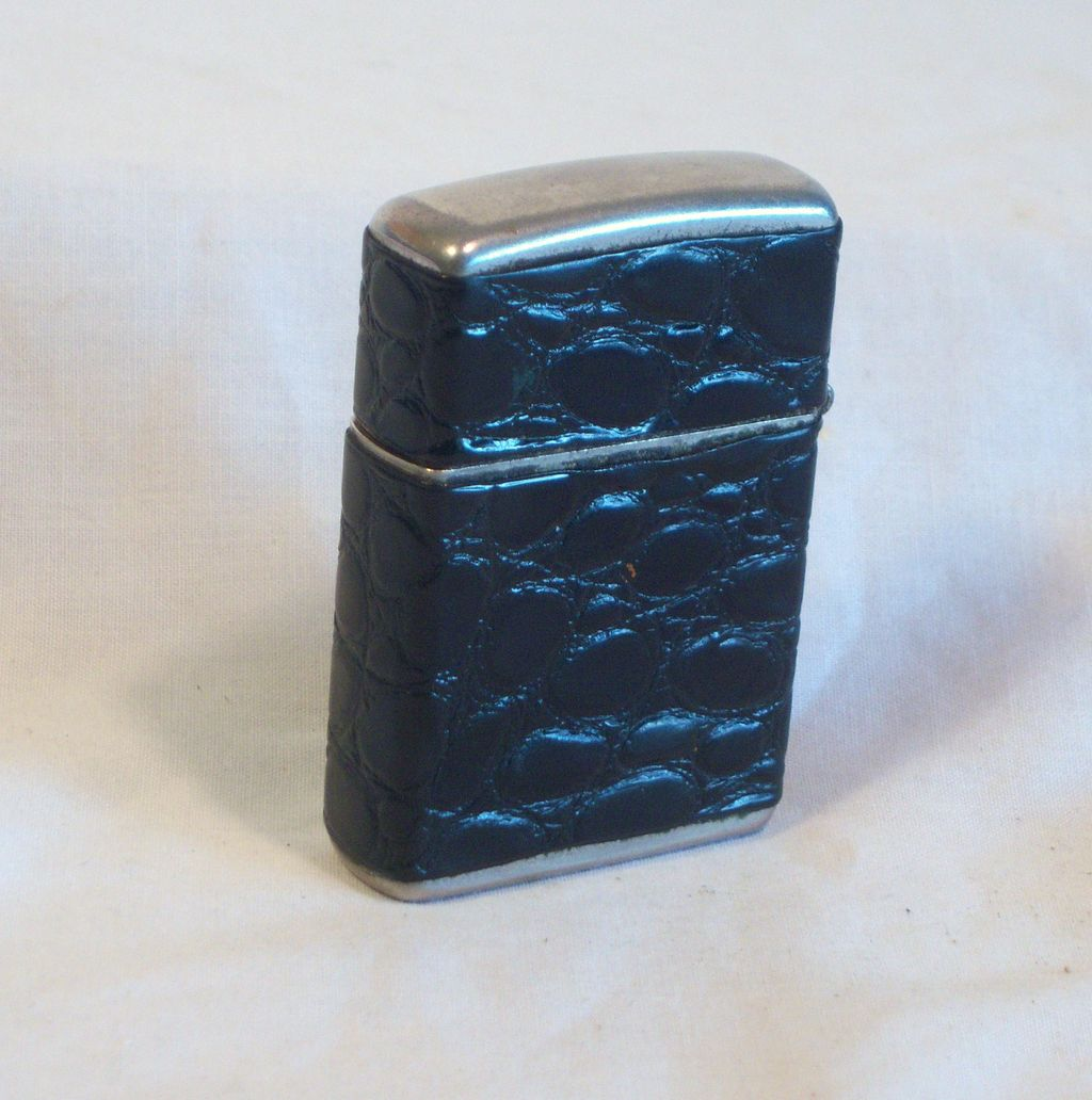 CHAMP Windproof Pocket Lighter Austria Wrapped in Alligator Leather 1950's