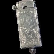 Ornate Silver Plated Lift-Arm Pocket Lighter 1920's