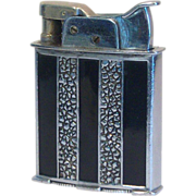Rare EVANS Trig-A-Lite Pocket Lighter in Black Striped Enamel Ca1935