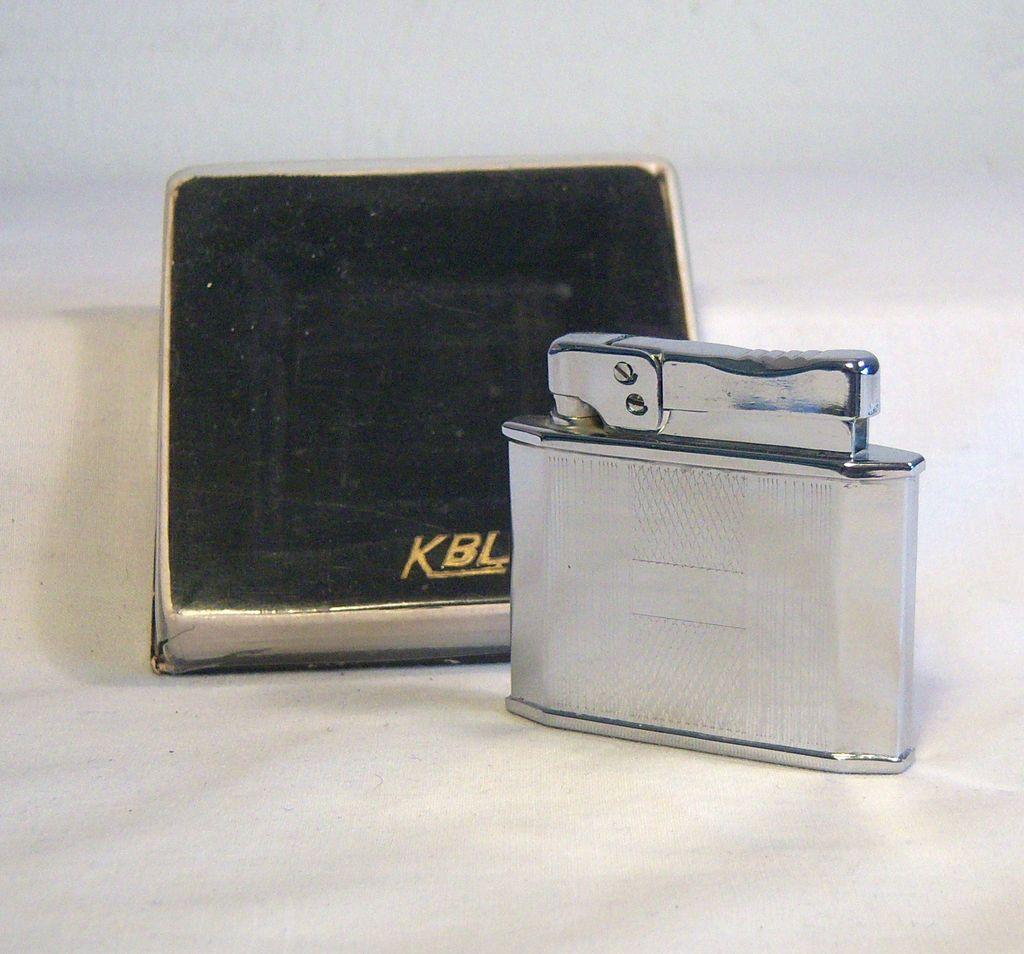 Vintage KBL 400 Chrome Pocket Lighter NIB 1960's