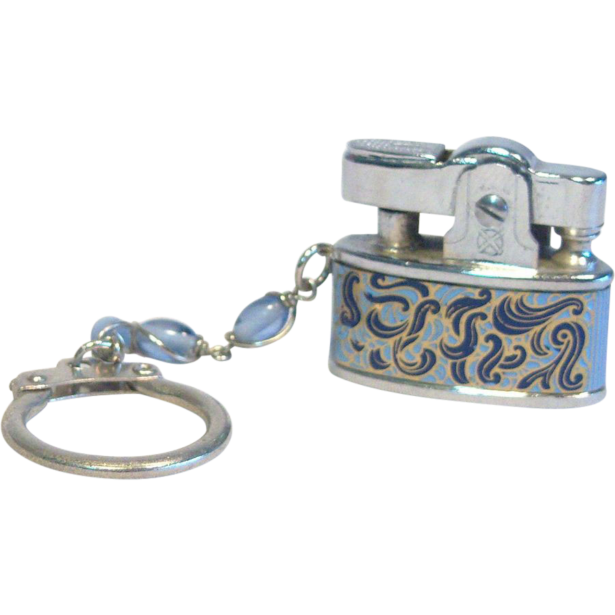 Hestia Keychain Lighter Baby Style Paisley Blue Japan1950's