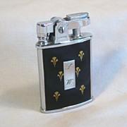 Ronson GEM Black Enamel and Gold Fleur-De-Lis Ca 1934