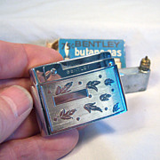 BENTLEY Butane Pocket Lighter with Chrome Leaf Relief  1950's