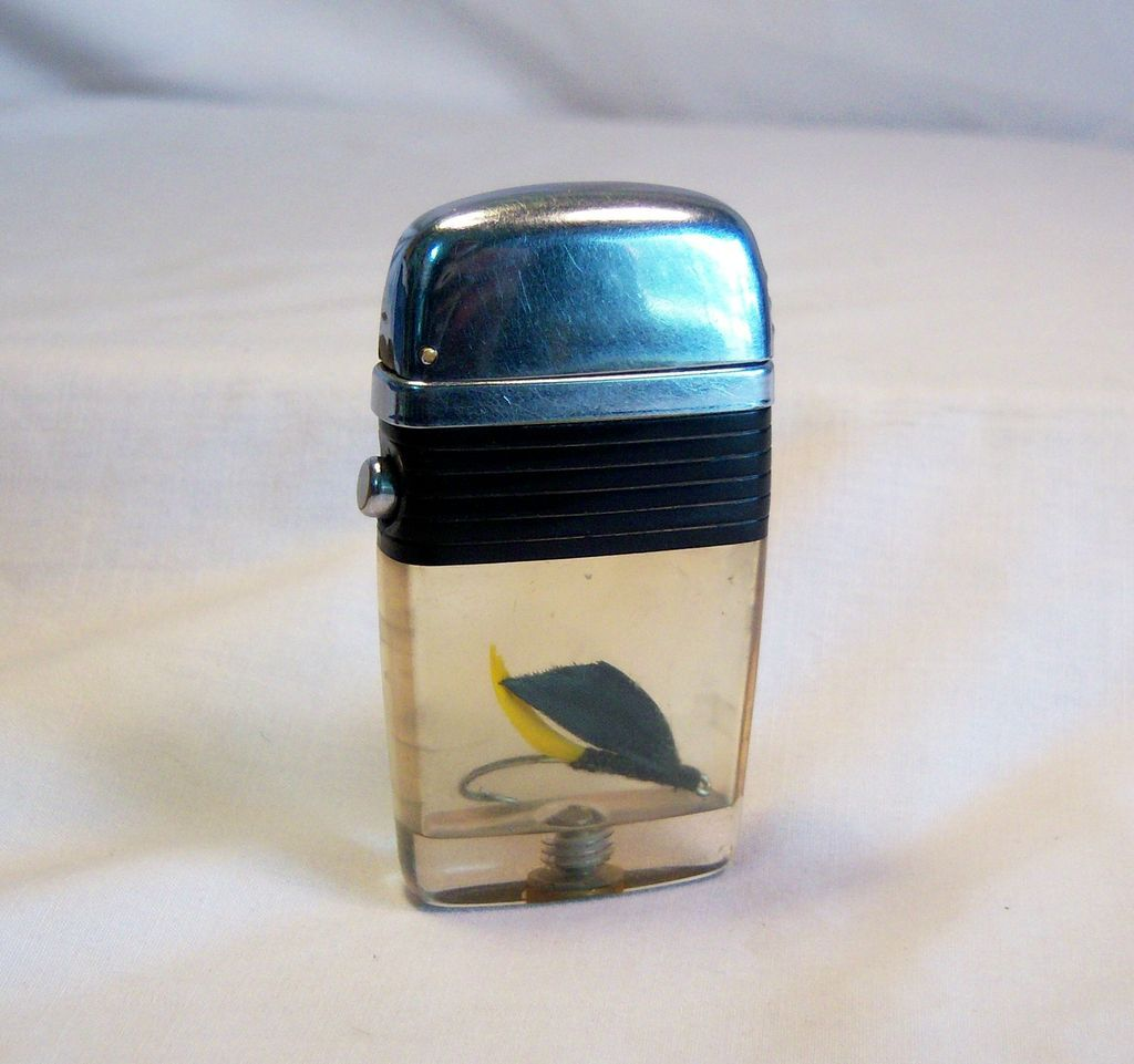 Scripto Vu-Lighter with Black and Yellow Fish Hook 1950's