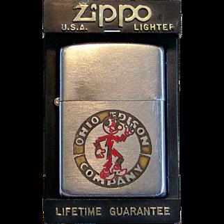 Rare ZIPPO Ohio Edison Reddy Kilowatt 1948-1950 Pat #2032695