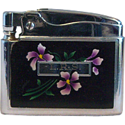 Ronson ADONIS Pocket Lighter Flower Print Enamaled 1950's