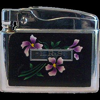 Ronson ADONIS Pocket Lighter Flower Print Enamaled 1950's