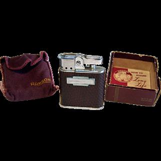 "Ronson ""Whirlwind"" Pocket Lighter Pigskin Leather 1950's"