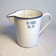 Measuring Pitcher Porcelain over Steel with Cobalt Blue Graphics Circa 1930's