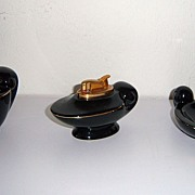 Evans Black Porcelain Table 3 Piece Lighter Set