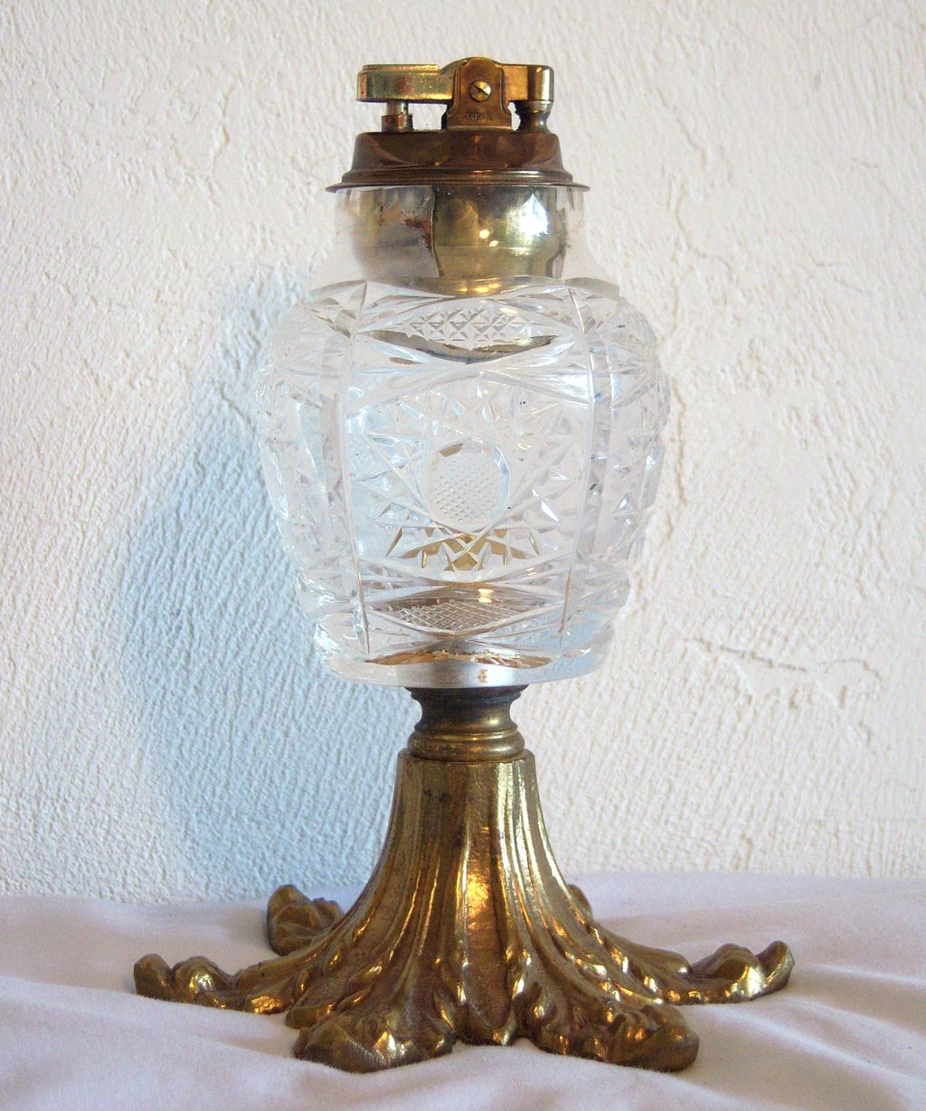 Japanese Glass Table Lighter with Brass Base 1950's