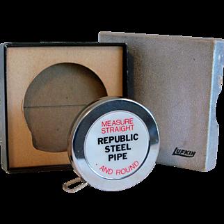 Vintage Lufkin Tape Measure Advertising Republic Steel Pipe 1970's MIB