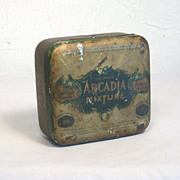 Antique ARCADIA Mixture Tobacco Tin Circa 1893