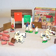 Vintage Plastic Toy  Hut MIB 33 Pieces Hong Kong Circa 1960's