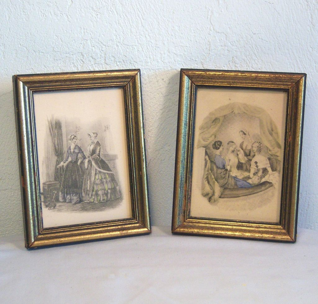 Pair of Godey's Fashion Prints in Original Gilded Wooden Frames Late 1800's