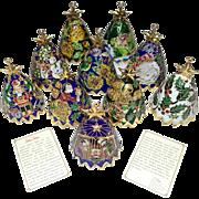 "10 ""Santa Sarna"" Cloisonne Bell Christmas Ornaments"